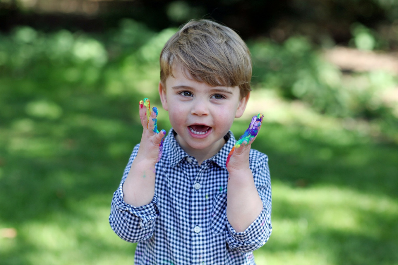 Britain's Prince Louis marks second birthday with rainbow pictures