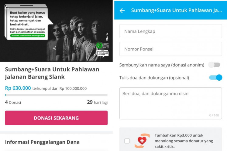 Slank's Sumbang Suara page on Kitabisa (left) where people can submit encouraging messages (right) after specifying their donation amount.
