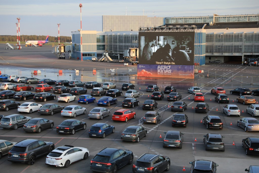 Emptied By Virus Lithuanian Airport Turns Into Drive In Cinema Lifestyle The Jakarta Post