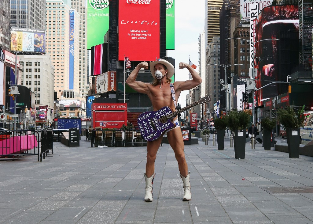 Times Square's lonesome 'Naked Cowboy' still playing his tunes
