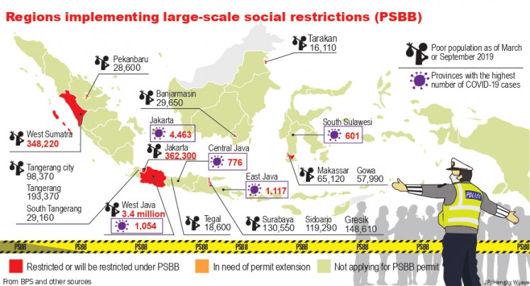 Regions implementing large-scale social restrictions (PSBB)
