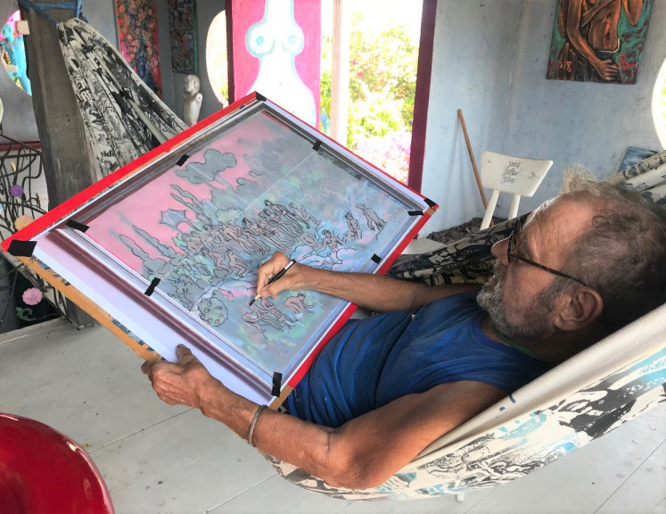 At home: Symon was among the last in the lineage of foreign artists who have helped raise Bali's profile as a destination for art and design.