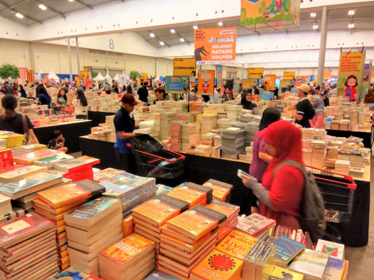 Bookworms: Visitors throng the Big Bad Wolf book bazaar at the ICE convention hall in Serpong on the outskirts of Jakarta, in March 2019.