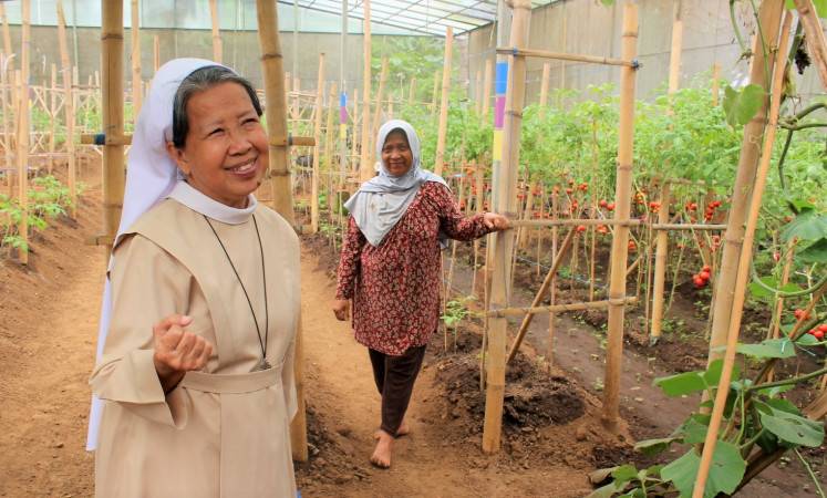 Fresh produce: Sister Marie Luise (left) shows the commercial garden used to raise funds for the retreat.