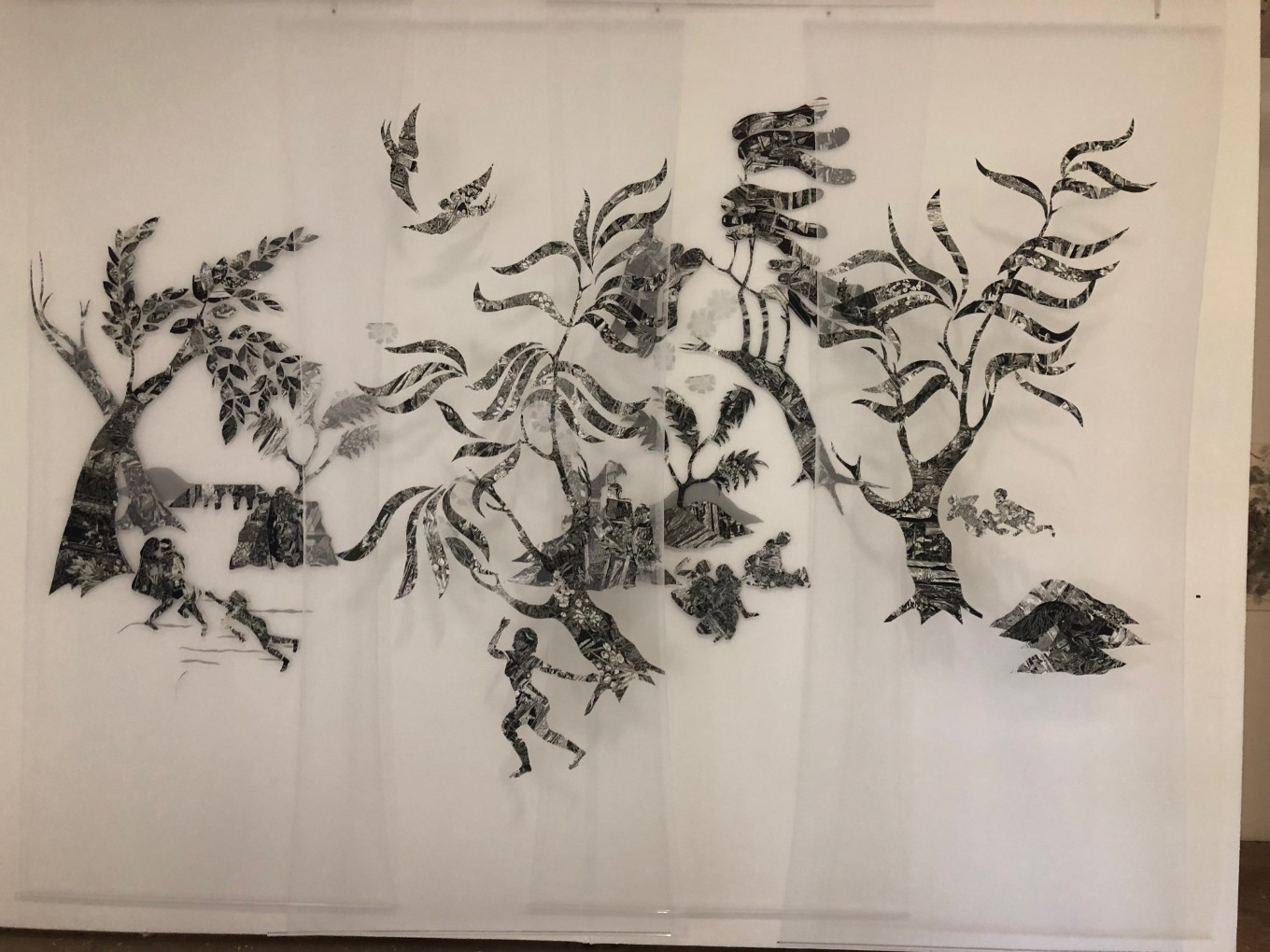 'Olley Land' 2019 - Christine Druitt-Preston (four panels hung on two parallel tracks) hand-stitched Wenzhou paper lino block print.