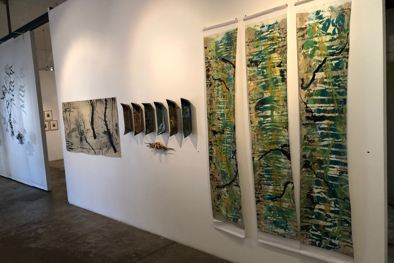 Works on display at the NCCA (from right): 'Crompan Oisre - (Irish), Oyster Creek (1-3)' 2019, Bronwyn Rodden, 'Drift'.