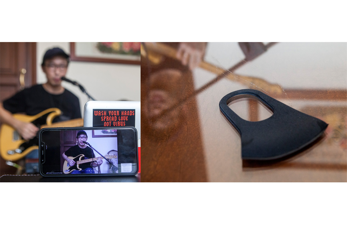 Robert Mulyahardja, a guitar coach with D'Jazz Music School, gives an online private lesson at his house in Pondok Indah, South Jakarta, on May 4. JP/Seto Wardhana.