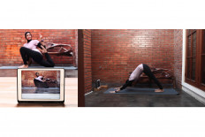 Yoga trainer, Puti Kemalasari, streams an online class in Bintaro, South Jakarta, on April 22. JP/Seto Wardhana.