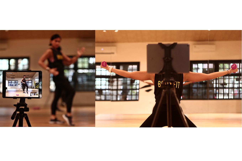 Owner of Body Fit Jakarta Inggita Syari Anindya performs a Zumba routine during an online class in Kemang, South Jakarta, on April 16. JP/Seto Wardhana