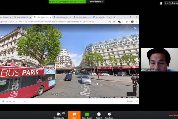 Virtual pedestrians: Participants of A Virtual Trip to Paris: Shopping and Culinary Experience with Idfi Pancani take an online walk to Galeries Lafayette in Paris.