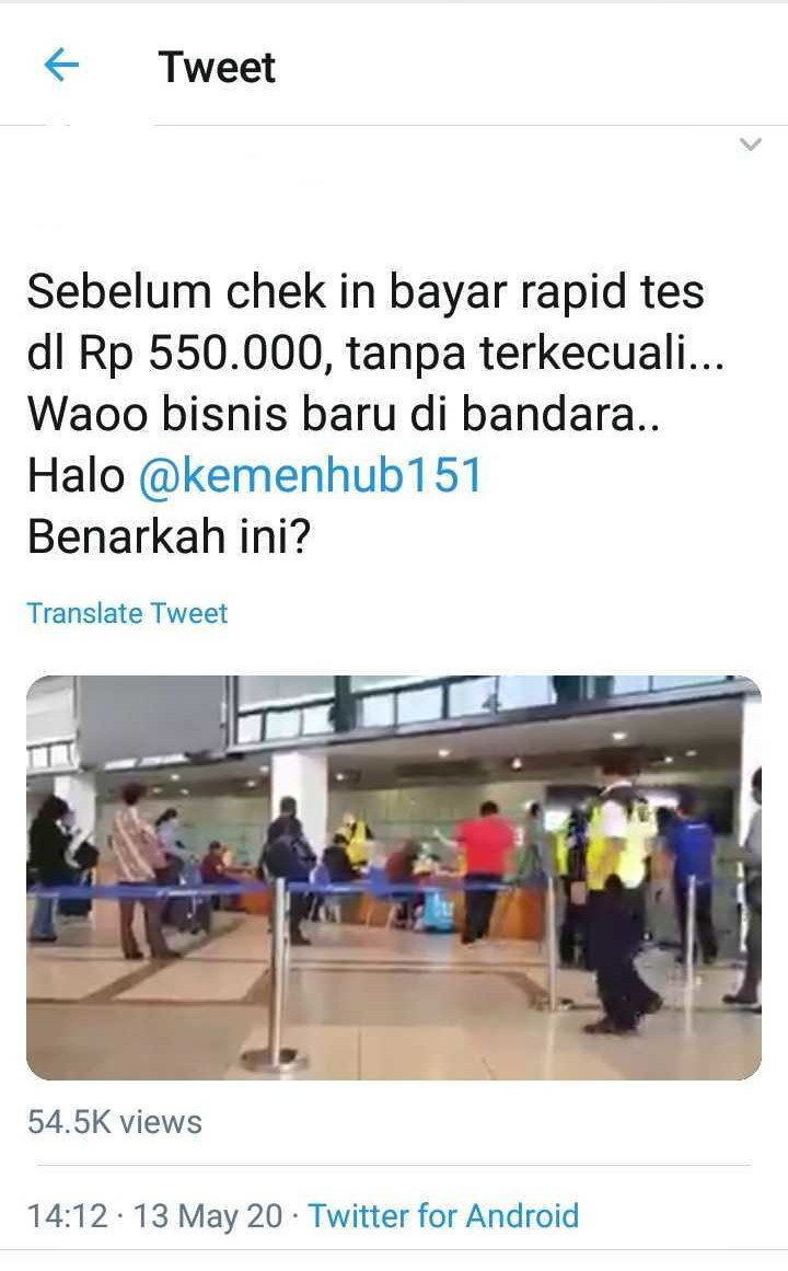 On May 13, a video circulated among Twitter users which shows passengers lining up in what is said to be an airport.
