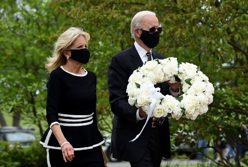 Joe Biden makes first public appearance since March 15