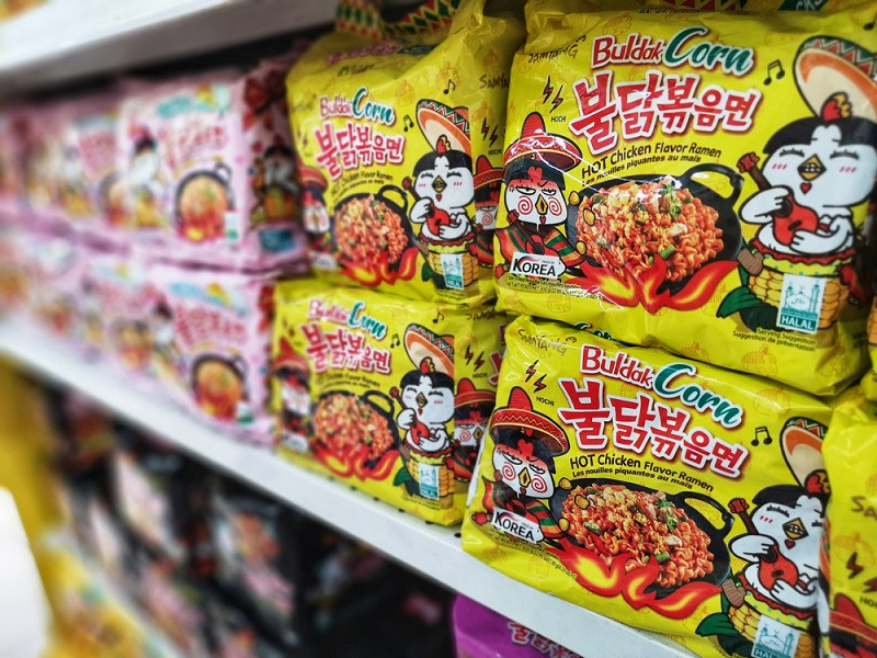 Samyang Foods sells export-version of Spicy Buldak Spicy Chicken noodles in Korea
