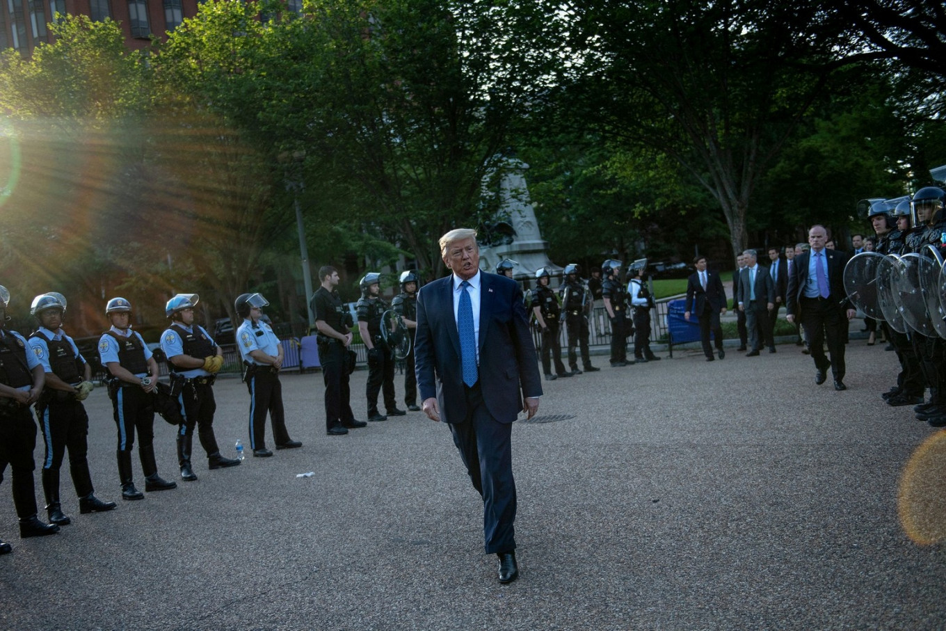 US President Donald Trump leaves the White House on foot to go to St John's Episcopal church across Lafayette Park in Washington, DC on June 1, 2020. - US President Donald Trump was due to make a televised address to the nation on Monday after days of anti-racism protests against police  brutality that have erupted into violence. The White House announced that the president would make remarks imminently after he has been criticized for not publicly addressing in the crisis in recent days. AFP/ Brendan Smialowski