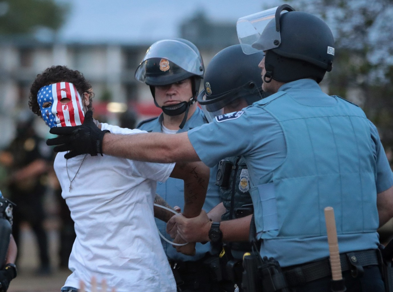 A demonstrator is arressted during a protest against police brutality and the death of George Floyd, on May 31, 2020 in Minneapolis, Minnesota. Protests continue to be held in cities throughout the country over the death of George Floyd, a black man who died while in police custody in Minneapolis on May 25. AFP/Getty Images/Scott Olson