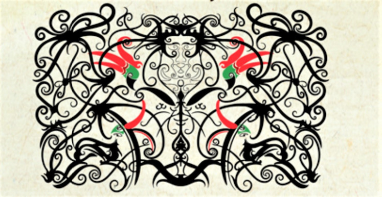 Sacred bird: An illustration shows a carving design of the Dayak people of Kalimantan that pays tribute to the hornbill.