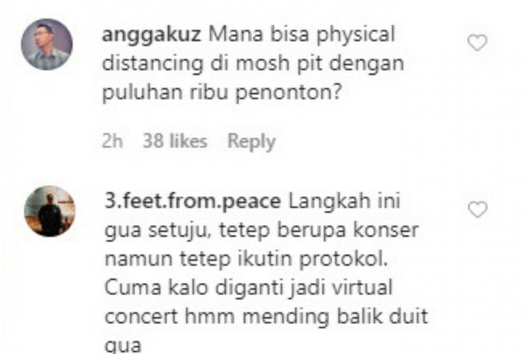 Comments from Instagram users about the health protocols applied at the 2021 Hammersonic.