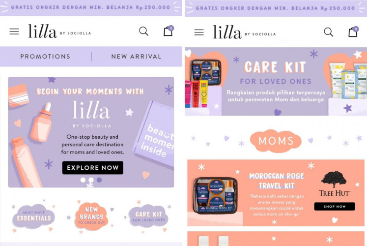 The homepage (left) of e-commerce platform for mothers and family, Lilla by Sociolla.