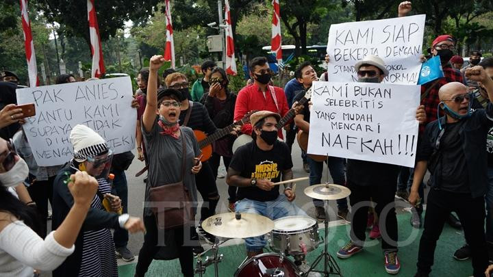 Musicians stage a rally to demand help as they suffer loss of livelihoods amid the COVID-19 pandemic.
