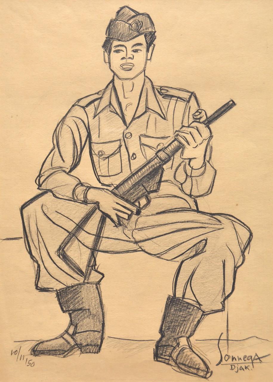 Lot 802 'TNI Soldier' (1950) by Auke Sonnega, conte on paper, 40 x 29 cm