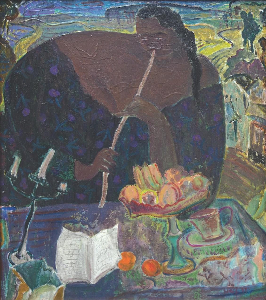 Lot 228 'The Flutist' (1993) by Arifien Nief, oil on canvas 45 x 40 cm