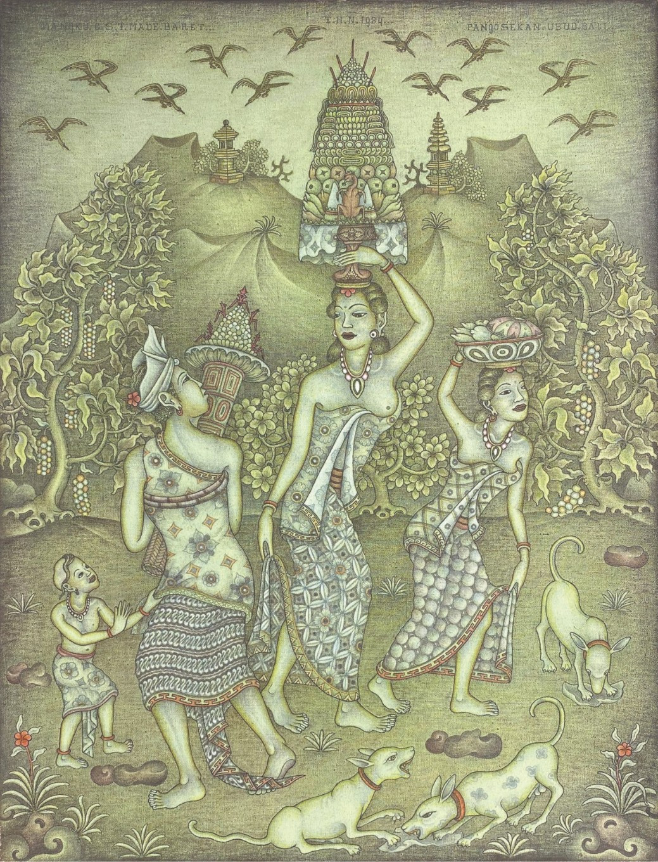 Lot 814 'Bali Offering' (1984) by I Gusti Made Mangku Baret, acrylic on canvas, 67 x 51 cm