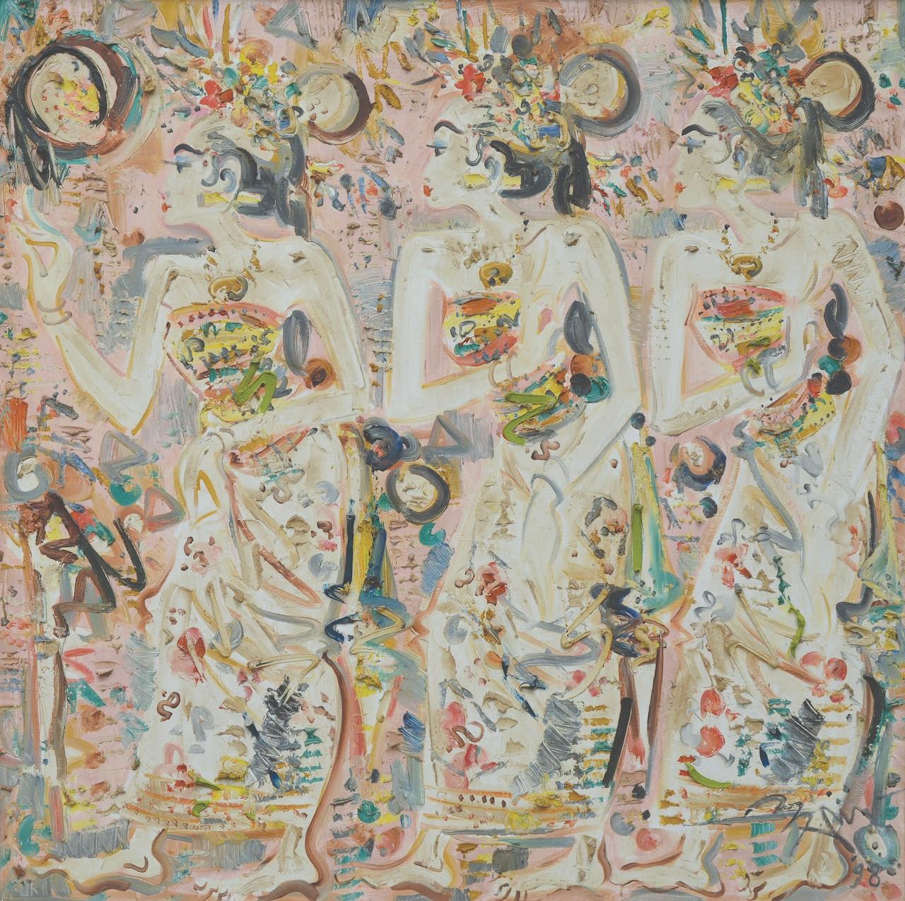Lot 821 'Three Dancers' (1988) by Nyoman Gunarsa, oil on canvas, 145 x 145 cm