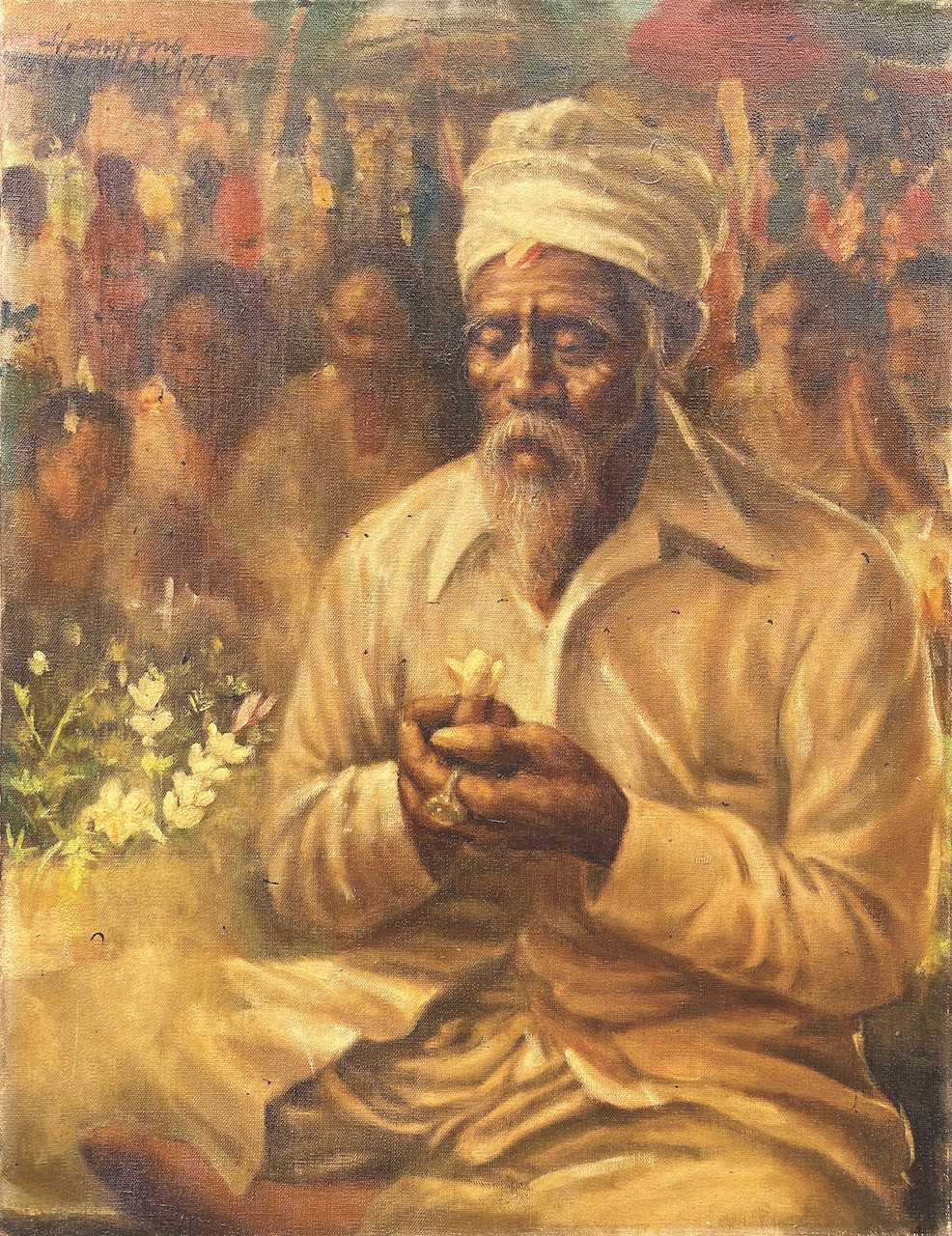 Lot 820 'Pemangku Sedang Mebakti' (1977) by Huang Fong, oil on canvas, 60 x 50 cm