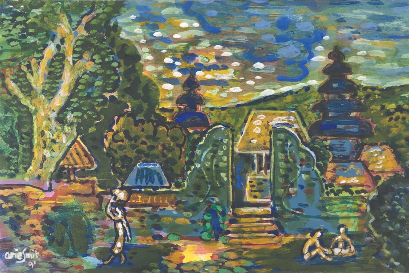 Lot 823 'Balinese Village' (1991) by Arie Smit, mixed media on paper glued on board, 26 x 38 cm