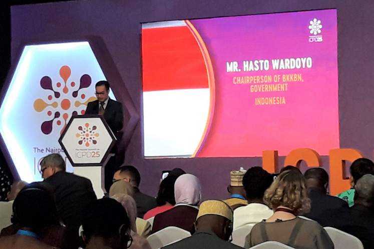 Making the point: Chairman of National Population and Family Planning Board Hasto Wardoyo reads out the country's statement as head of Indonesia's delegation to the ICPD25 summit in Nairobi in November last year.