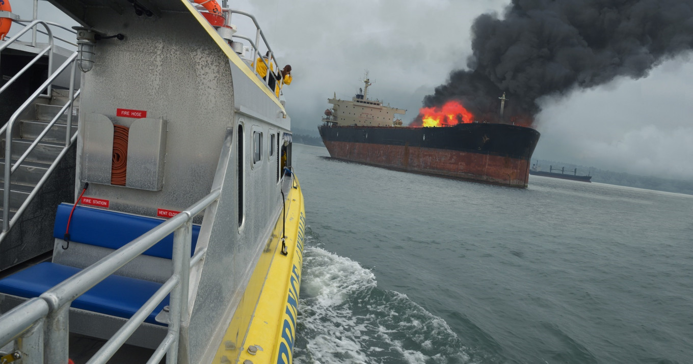 One dead, four missing after cargo ship catches fire in Southeast Sulawesi