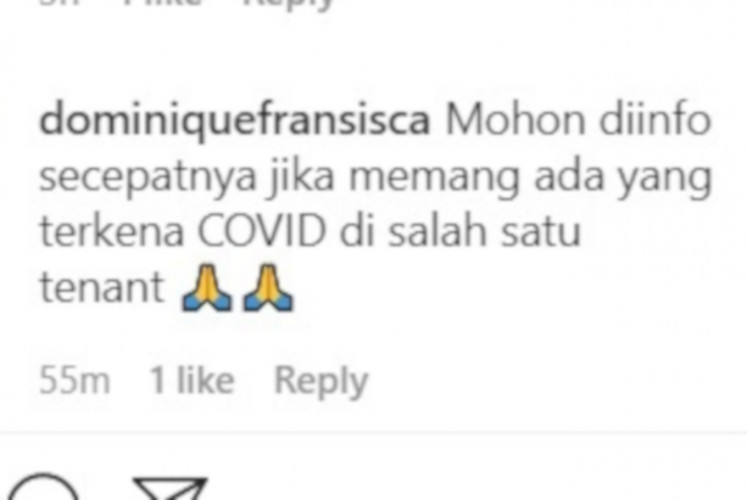Another comment on Plaza Senayan's Instagram account, asking for confirmation that a COVID-19 case was detected at one of the mall's tenants.