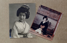 Old photographs of Ikuko that were taken after she moved to Tokyo in 1964, are seen at Ikuko's home in Tokyo, Japan, July 11, 2020. Reuters/Kim Kyung Hoon/Handout via Reuters