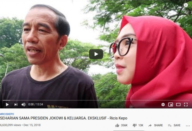 Privileged: Ria Ricis' popularity as a Youtuber has allowed her to gain access to prominent public figures, such as President Joko 'Jokowi' Widodo.