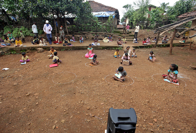 'Speaker Brother': Loudspeakers teach Indian children after virus shutters schools