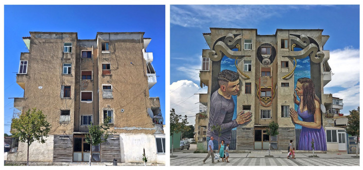 Locational art: This before-and-after composite shows 'Flirting', a mural in Albania that showcases street artist Wild Drawing's ability to integrate the structural features of a building (left) into his murals that merge seamlessly into the local environment.
