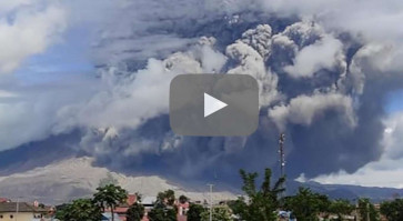 Mount Sinabung blasts tower of smoke and ash into sky