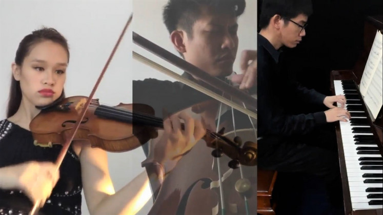Grand finale: Beethoven's famous Triple Concerto was performed by (left to right) Bernadette Wijnhamer, Alexandre Armaputra and Suwita Siladjadja, bringing a spirited denouement to the virtual event.