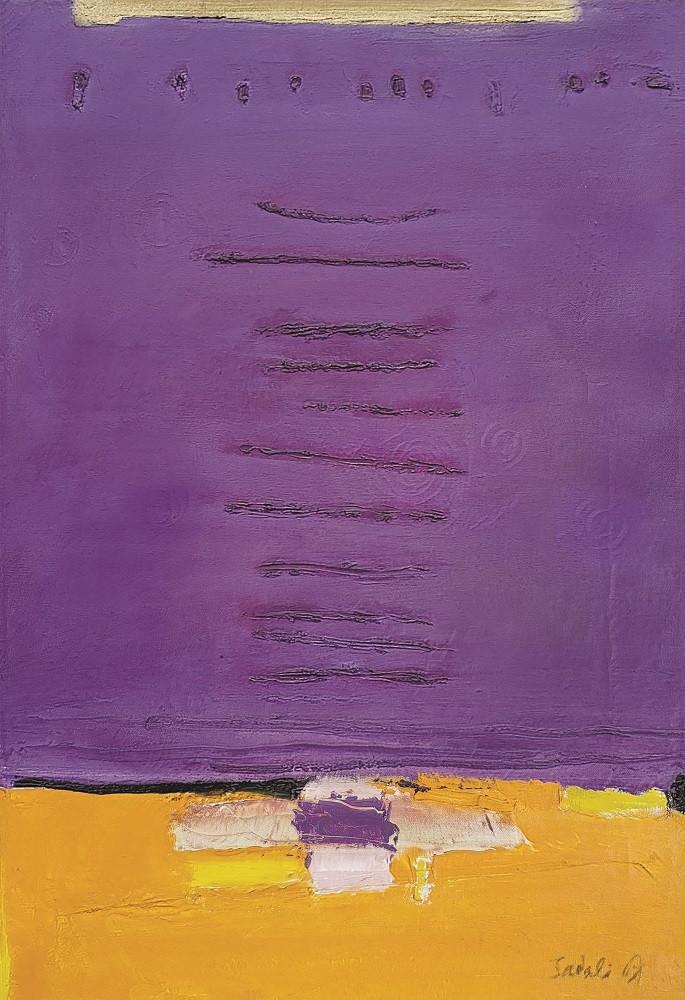 Lot 825 'Symmetry in Violet' (1967) by Ahmad Sadali. Oil on canvas, 62 x 42 cm.