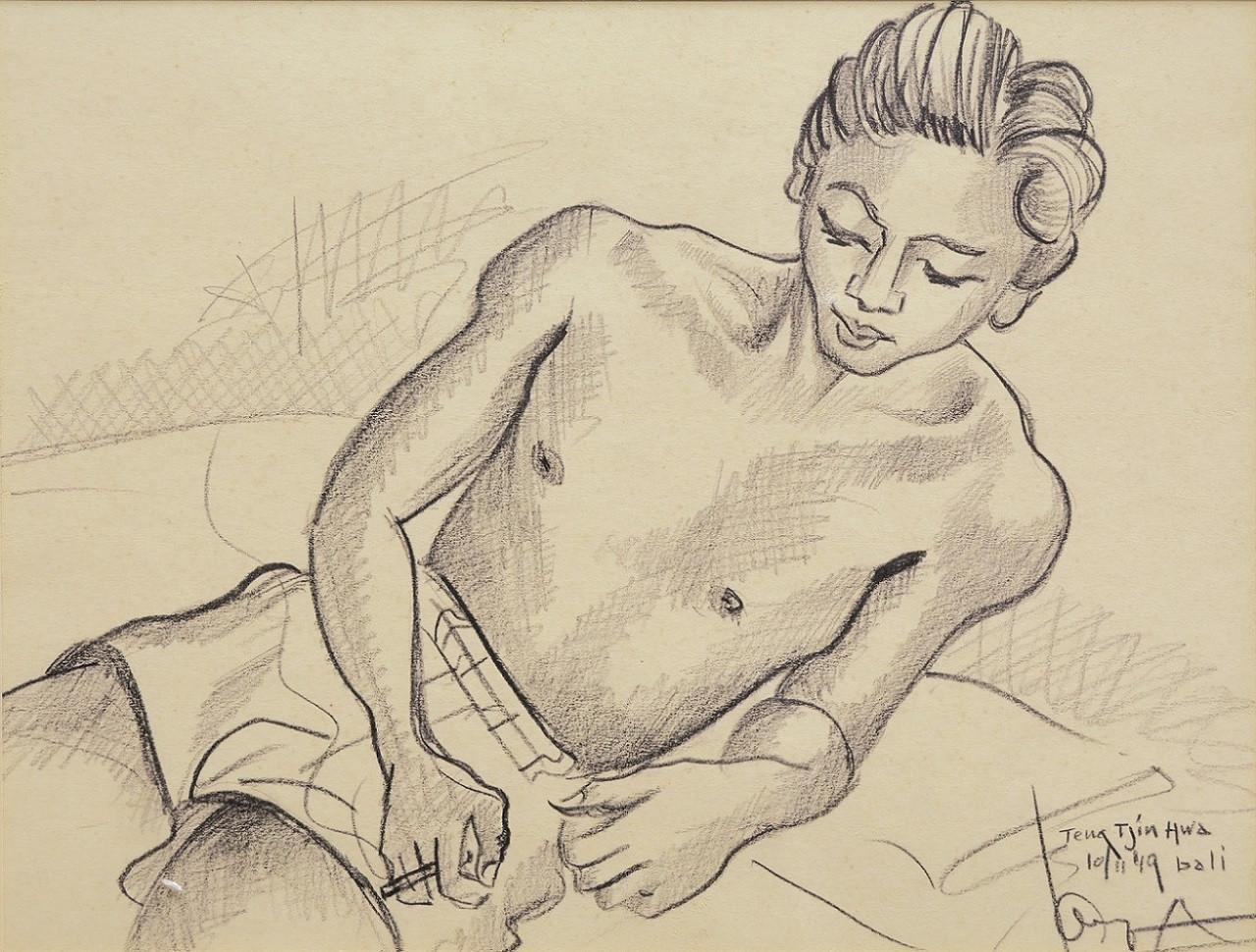Lot 802 'Teng Tjin Hwa' (1949) by Auke Sonnega. Pencil on paper, 26 x 35 cm.