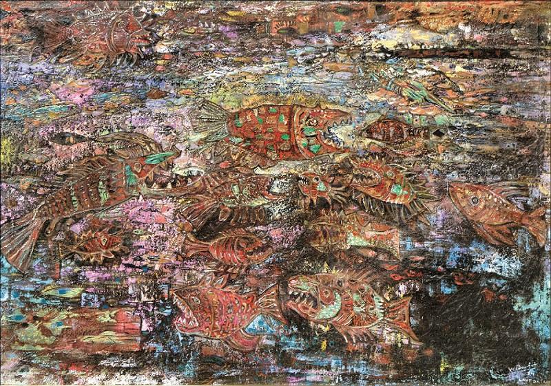 Lot 822 'Laut Dalam' (1984) by Widayat. Oil on canvas. 70 x 97cm.