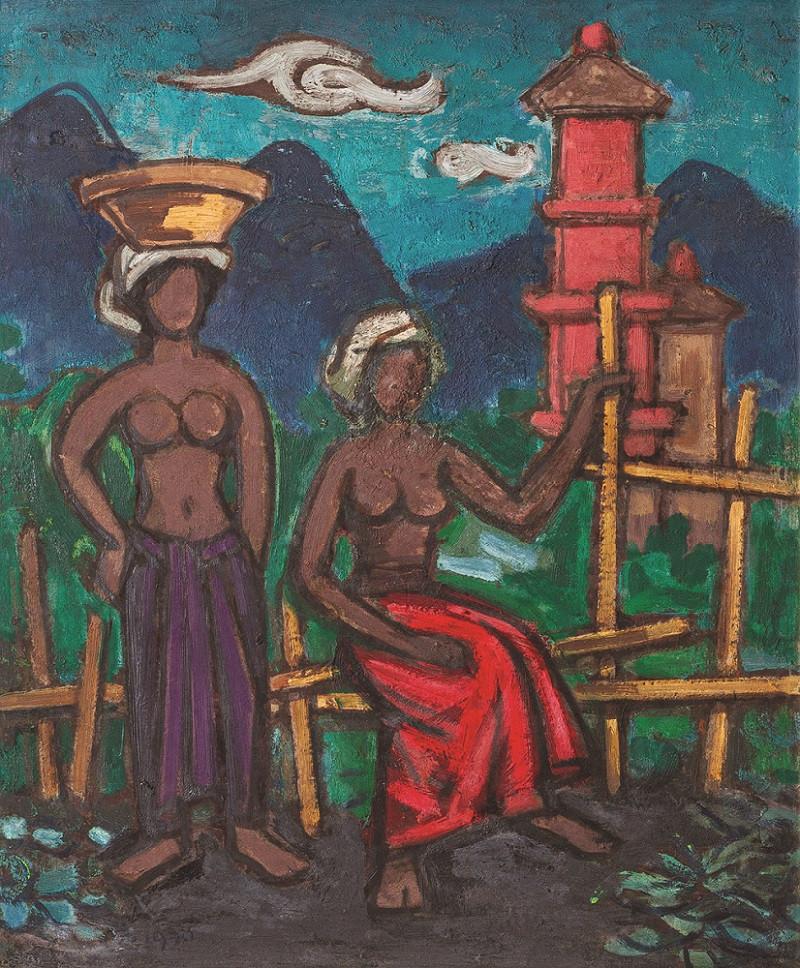 Lot 810 'Balinese Ladies' (1970) by Liu Kang. Oil on masonite, 55 x 45 cm.