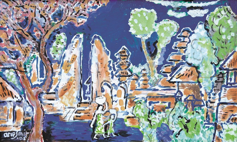Lot 811 'Inside a Temple Court' (2005) by Arie Smit. Acyrlic on canvas, 55.5 x 91.5 cm.