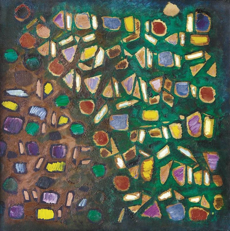 Lot 823 'Dinamika Bidang' by Fadjar Sidik. Oil on canvas, 65 x 65 cm.