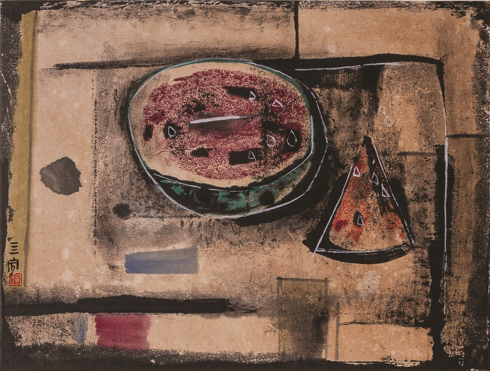 Lot 821 'Still Life' by Cheong Soo Pieng. Ink and color on rice paper. 35 x 45 cm.