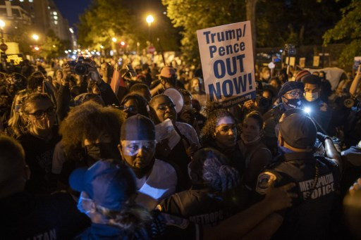 Protesters gather outside White House ahead of Trump speech