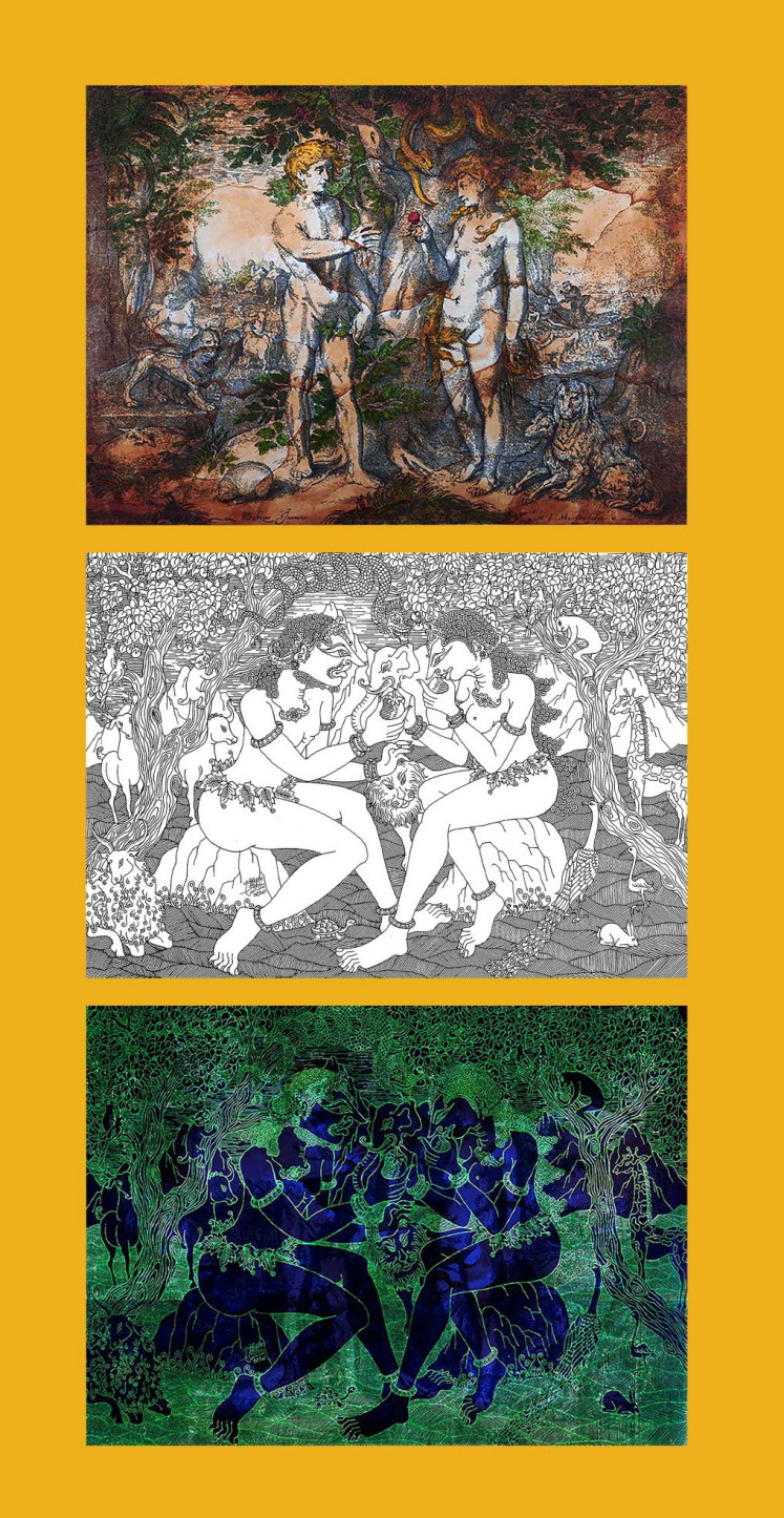 Transformation: Eddy Susanto's work 'Adam and Eve in Paradise' (top) is appropriated from Jacob Matham, with text in Javanese script about the story shaping the images; while the drawing (center) is his own imagery based on 'Wayang Wahyu' and in the fashion of 'Wayang Purwa'; and the transformed work (bottom) results after a UV light is switched on.