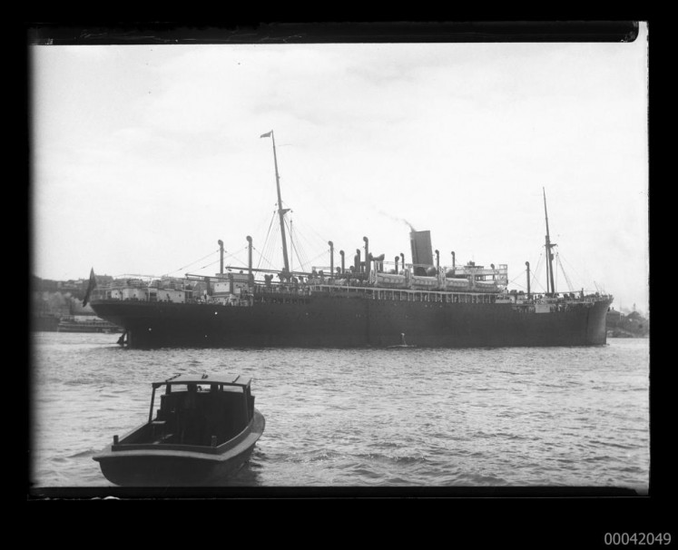 In this archive photo, a ship off the Moreton Bay is caught up in the strike on Dutch shipping.
