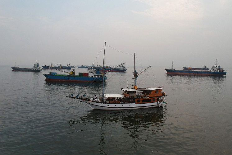 Ready to sail: The Benetta phinisi ship harbors at the Sunda Kelapa Harbor in Jakarta on Sep. 5.