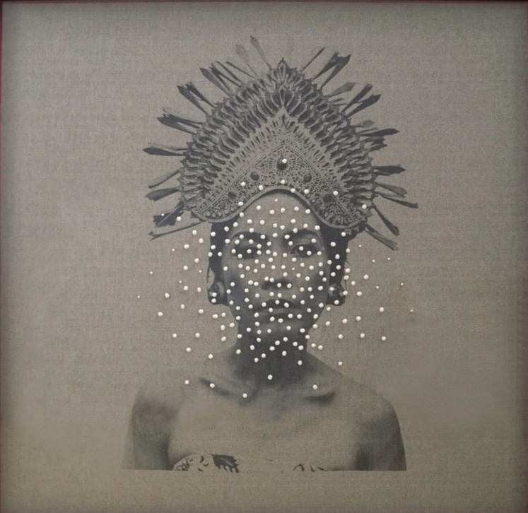 Girl with pearls: Recasting herself as a portrait model in 'Give Me Pearls Necklace' (screen print on fabric, freshwater pearls, 2018), Indonesian artist Octora appears to gaze out from and on history, questioning how portraiture can be a tool of power and domination over colonial subjects.